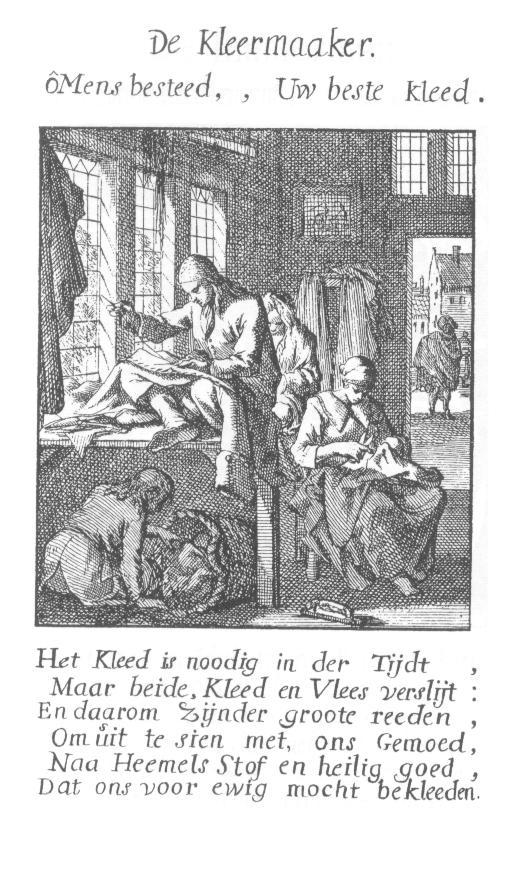 """De Kleermaaker, van Jan Luyken """"het menselijk bedrijf"""" 1694"""