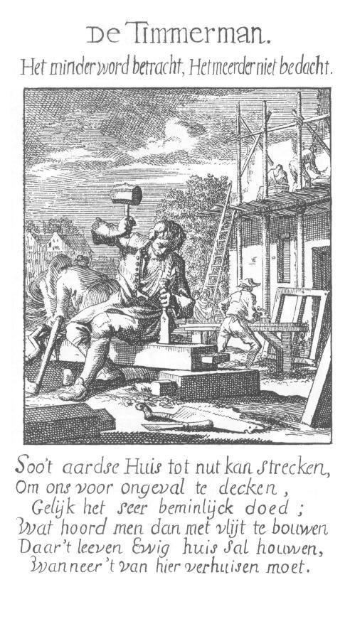 """Timmerman, van Jan Luyken """"het menselijk bedrijf"""" 1694"""